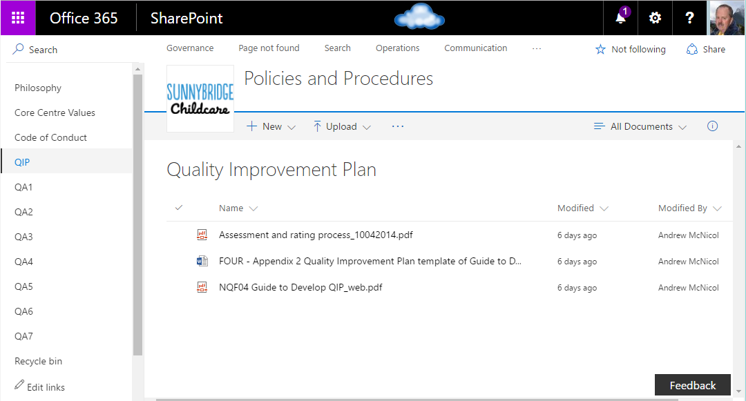 Document Management complying with NQF Element 7.3.1